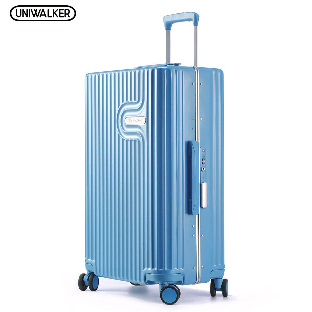 UNIWALKER Blue Lightweight Travel Suitcase 100% PC Carry on Spinner Wheel Luggage 20''24''26'' Inch for Woman Man TSA Lock 20 24 26 29 vintage suitcase pc abs luggage rolling spinner lightweight suitcase with tsa lock