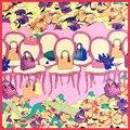 2016 Nueva Bufanda de Seda Cuadrada Mujeres Square Carrera Toalla De Seda Foulard Bufandas de la Impresión de La Flor Elegante Bufanda 60*60 cm