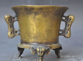 marked china pure bronze People Elephant head lucky statue incense burner Censer