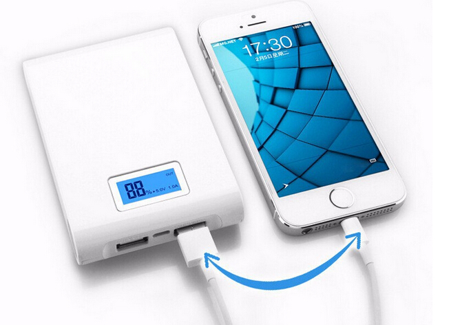 Free Shipping Dual USB 12000mAh White Super LED Light Portable power bank Backup External Battery Charger