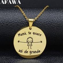 2019 Fashion mamá te quiero  asi de grande Stainless Steel Necklace Women Gold Color Chain Necklace Jewerly cadenas mujer N18988 джинсы mit mat mamá mit mat mamá mi073ewbhbs9