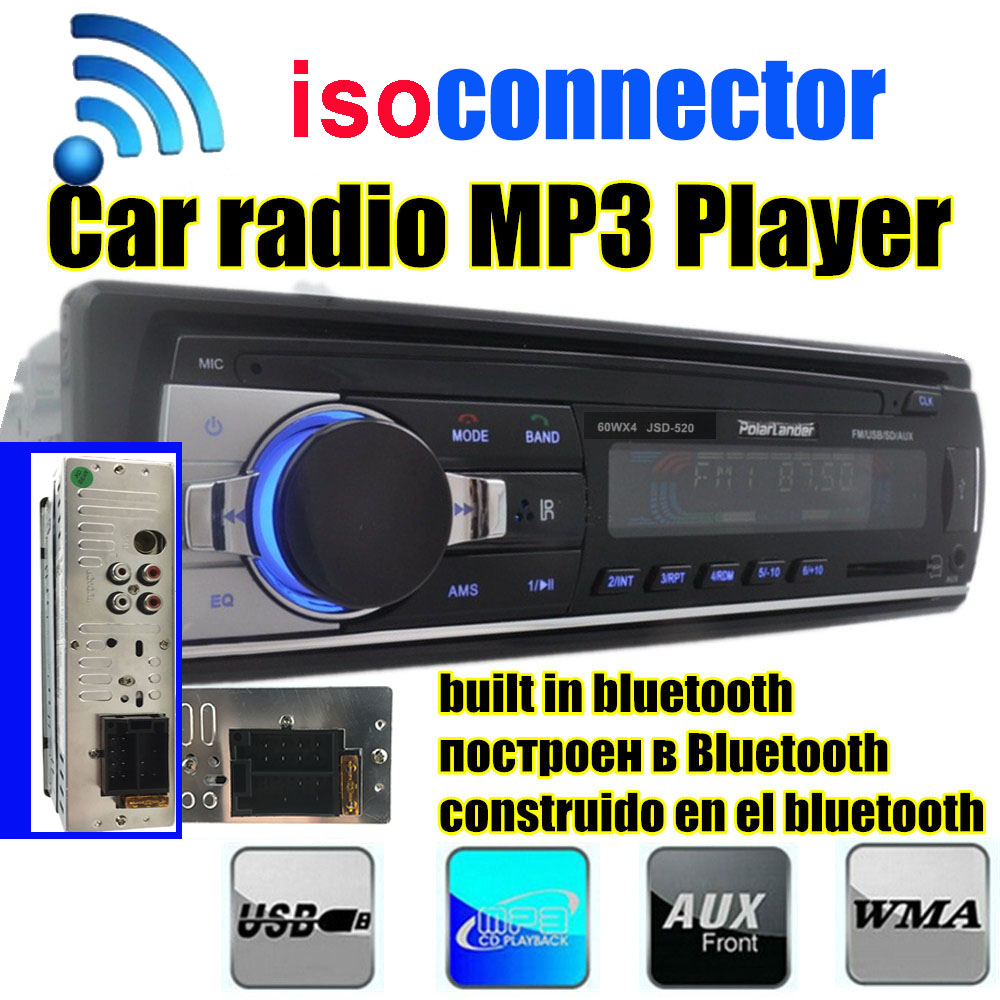 2015 New 1 DIN 12V Car Stereo FM Radio MP3 Audio Player Built In Bluetooth Phone