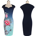 Preself Dresses New Sexy Women Ladies V Neck Gradient Color Floral Print Vintage Elegant OL Dress