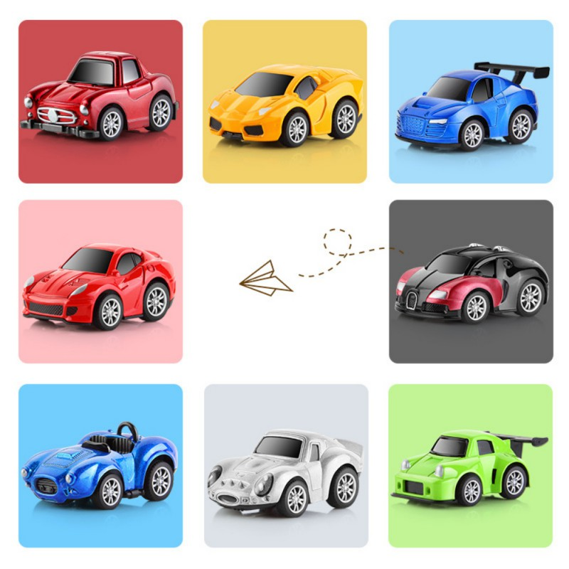 4/8pcs Random Color Magic Track Cars Electric Toy Car For Looping Race Run Set Flexible Glowing Tracks Toy For Children