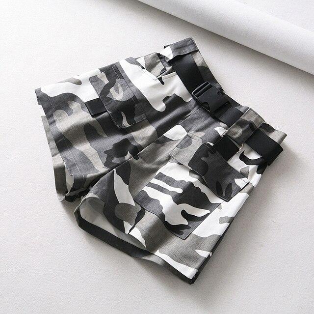 Summer cotton high waist shorts for women fashion belt shorts vintage sexy cargo shorts biker pocket shorts 2019 Korean version 3