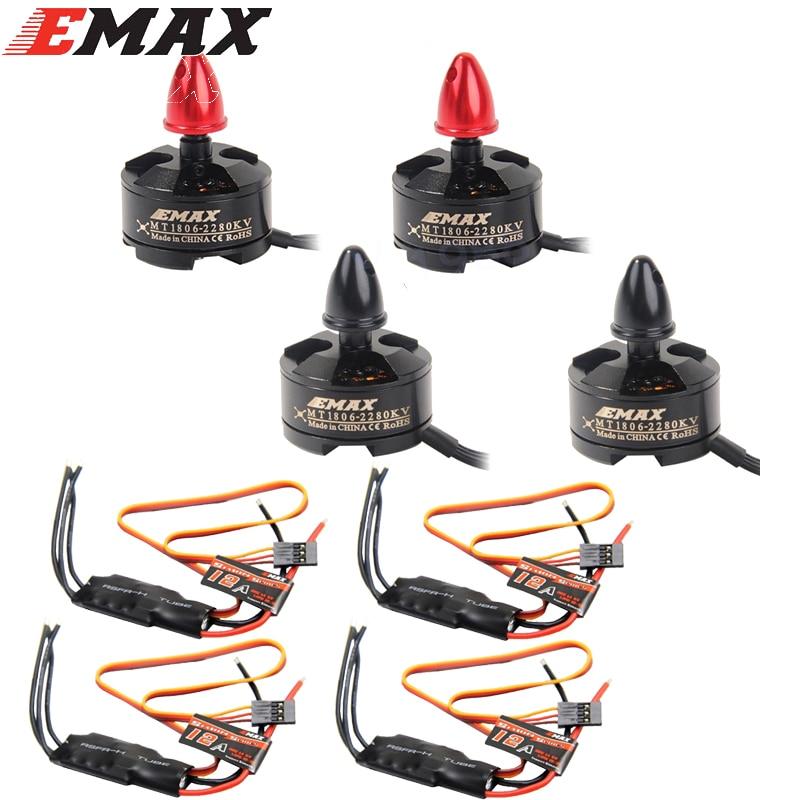 4 مجموعة/وحدة EMAX MT1806 2280KV CW و CCW فرش السيارات و EMAX 12A SimonK ESC ل C250 Multicopter QAV250 Quadcopter بالجملة-في قطع غيار وملحقات من الألعاب والهوايات على  مجموعة 1