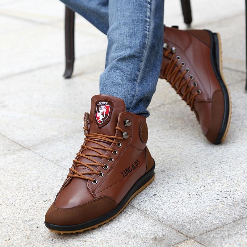 Super Warm Winter Men Boots High Quality Autumn Snow Boots Men Waterproof Soft Pu Leather Footwear Shoes Men Ankle Boots
