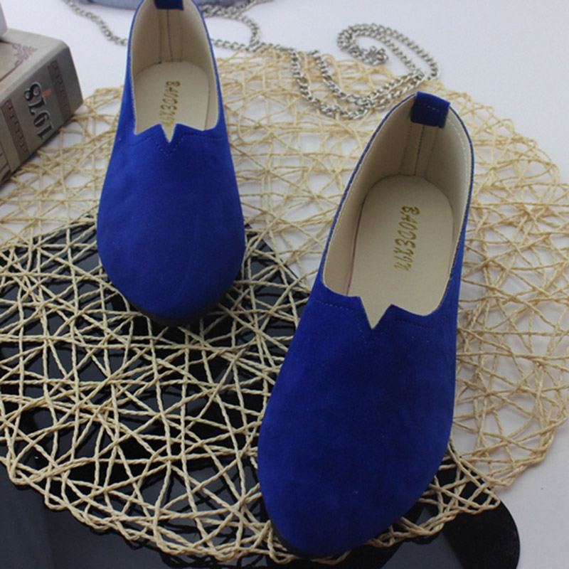 2018 Summer Hot Sale Work Women Shallow Mouth Flats Single Shoes Candy Color Nubuck Leather Comfortable Loafers Shoes Size 35-43