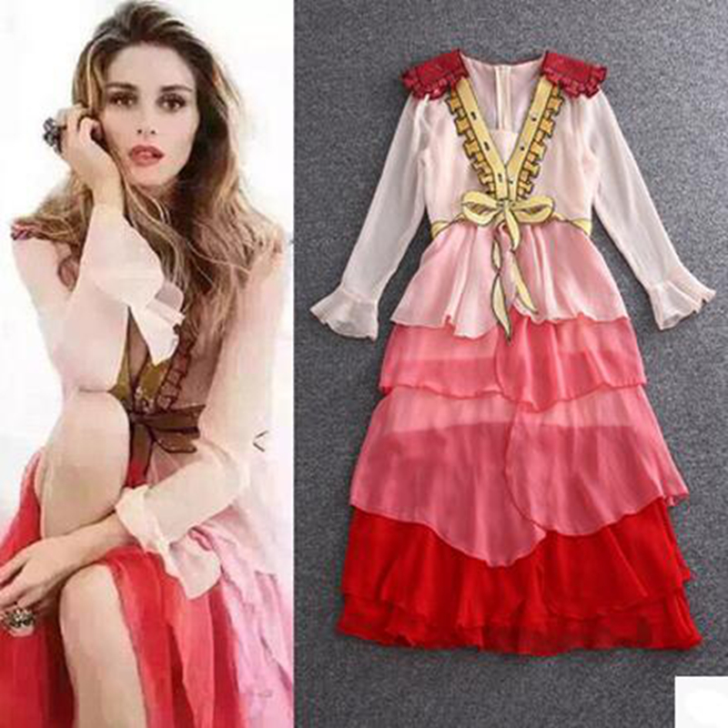 European goats section heavy industry embroidery bow sequins pink temperament ladies lotus leaf cake dress