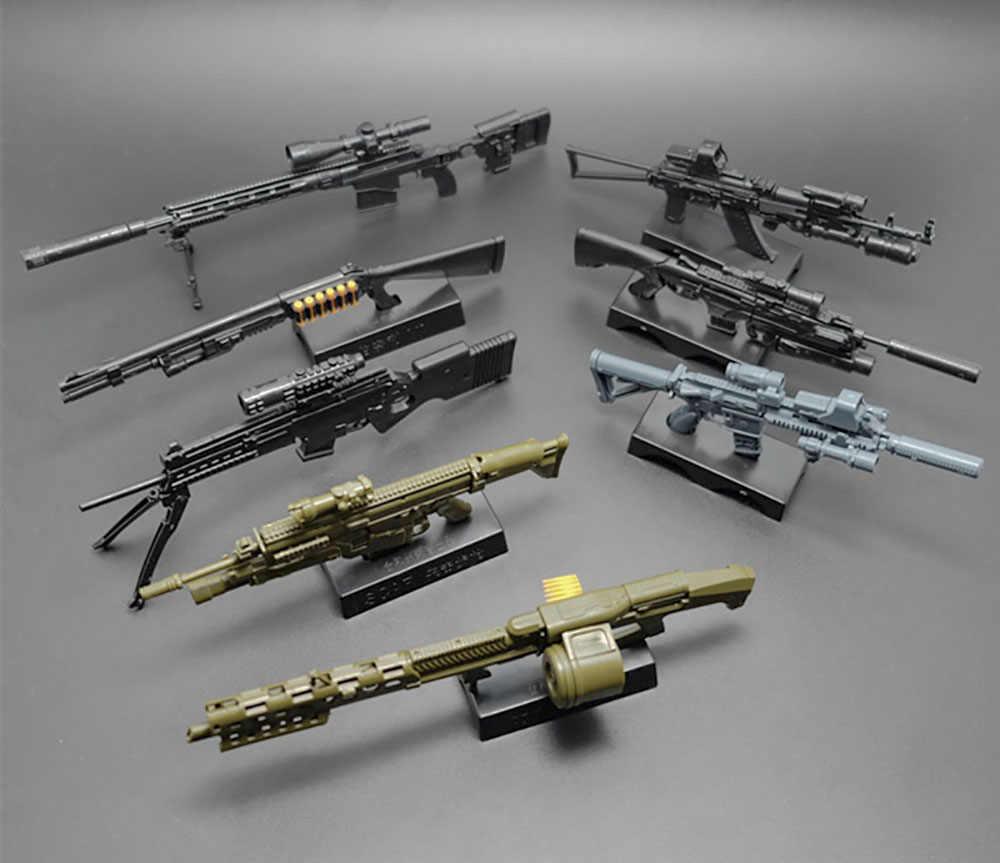 1/6 مقياس 4D HK416 AK74 MG62 MSR قناص بندقية التجمع نموذج لغز قوالب بناء بندقية سلاح للعمل الشكل