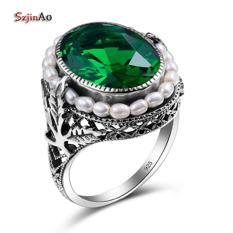 Szjinao Ring silver Ring 925 Plain Natural Pearl Gemstone Rings For Women Emerald Green Stone Lace Vintage Engagement Sieraden