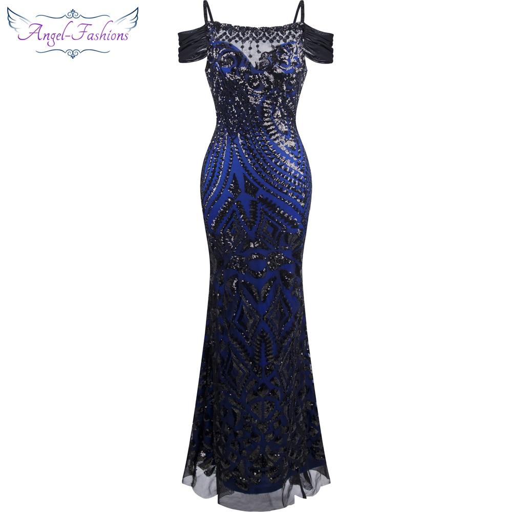 Angel-fashions robe de festa Bateau Nect Sequin Sirène Longue Robe de Soirée Abendkleid Noir 220