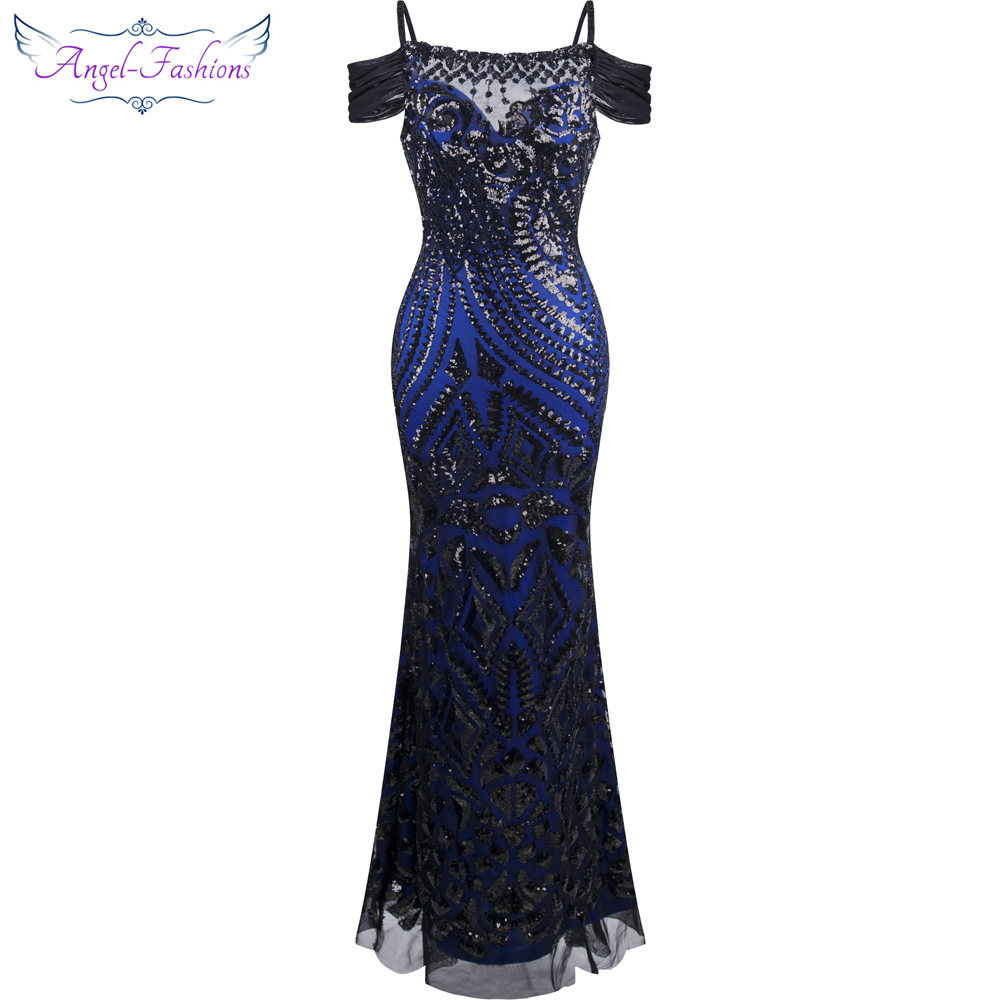 купить Angel-fashions vestido de festa Boat Nect Sequin  Mermaid Long Evening Dress Abendkleid  Black 220 по цене 2855.22 рублей