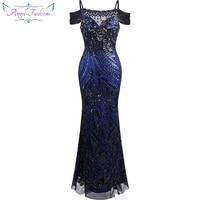 Angel fashions vestido de festa Boat Nect Sequin Mermaid Long Evening Dress Abendkleid Black 220