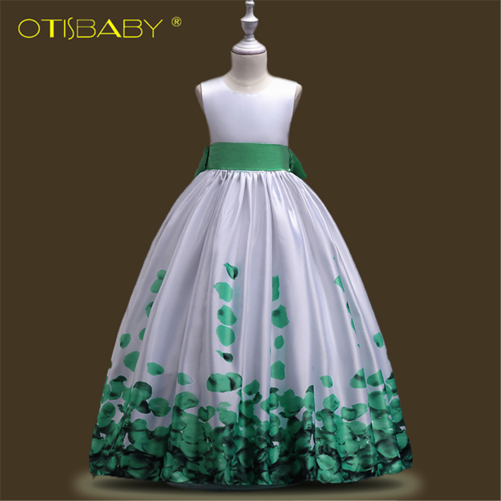Children Communion   Dresses   for Kids   Girls   Princess Graduation Gowns Teenger Formal   Flower   Printed Wedding   Girls     Dresses   Ceremony