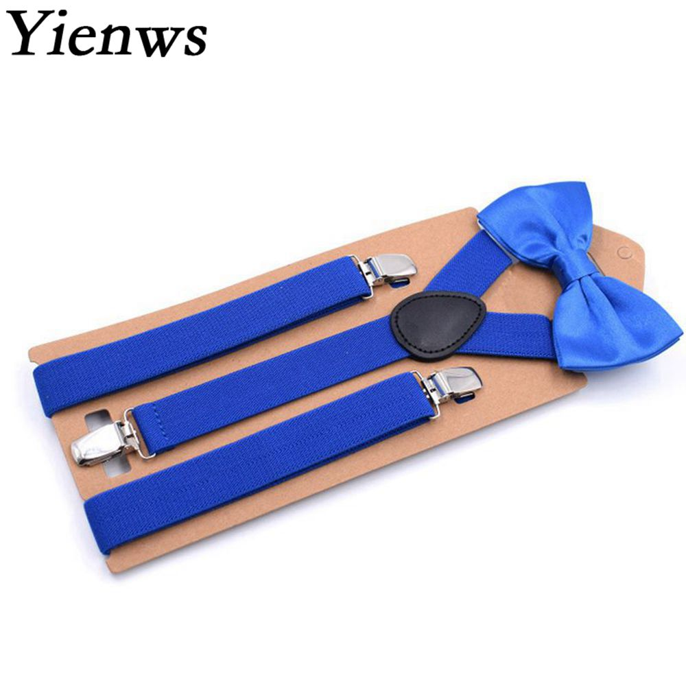 Yienws Royal Blue Bow Tie Suspenders For Men Leisure Wedding Party Brace And Bow Tie Mens Braces For Trousers 110cm Jartiyer