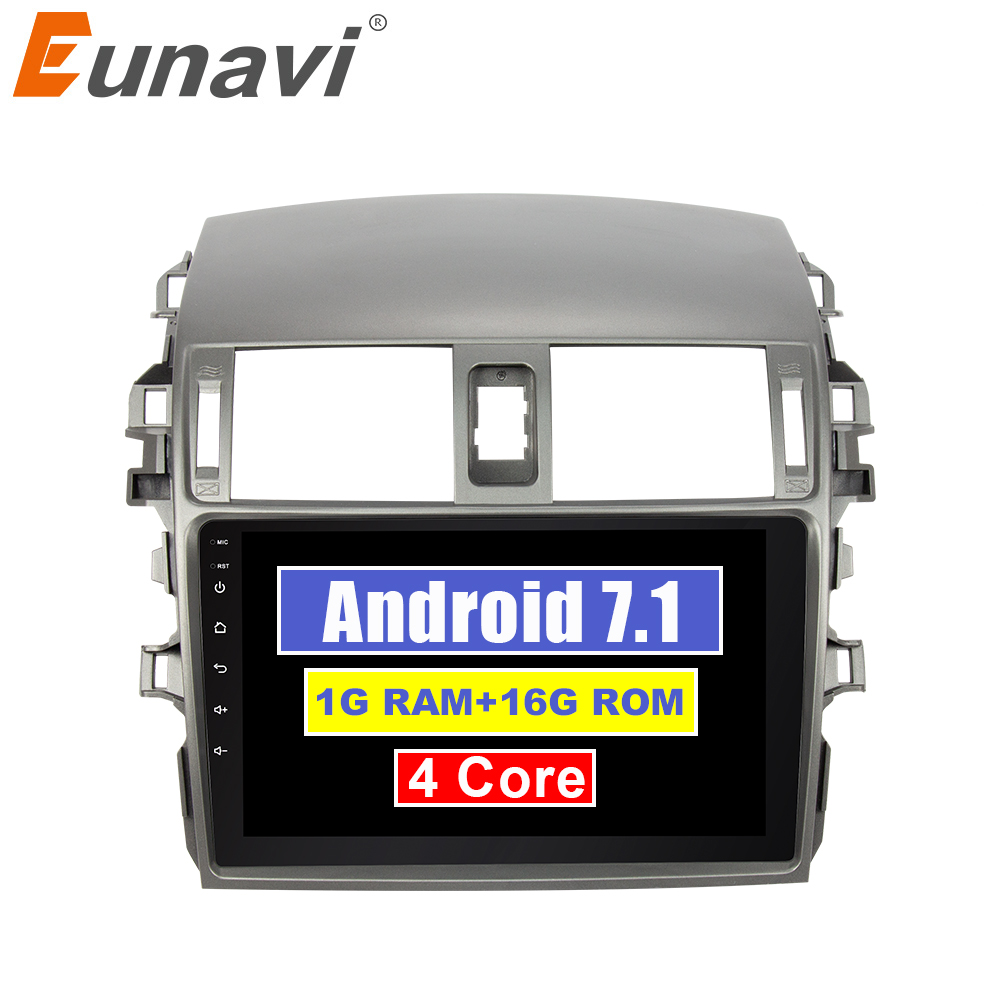 Eunavi 9'' 2 Din Quad core Android 8.1 Car Radio Stereo Player for Toyota Corolla 2007-2013 gps navigation video Multimedia pc