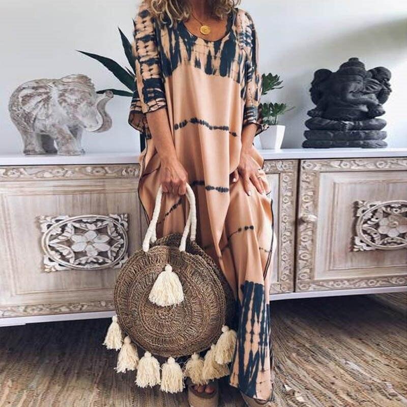 a80782b2fe8d Casual Oversize Maxi Vestido Mujer 2019 Boho estampado moda manga  murciélago verano suelto vacaciones viaje básico Vestidos largos Mujer