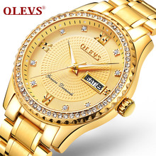 OLEVS Men's Watch Relogio Masculino Luxury brand Rhinestones Luminous Day Week Waterproof MIYATO Quartz watch steel Clock 6618 olevs часы