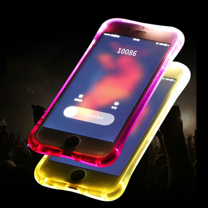 High Quality Transparent Luminous LED Flash Back Cover Shell For iPhone Models 3