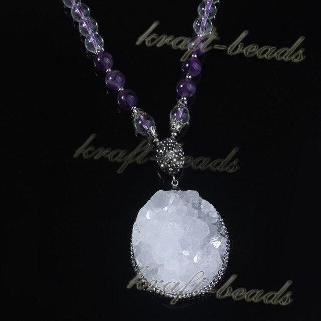 1 pcs de prata Natural branco cristal pingente de colar de cristal conjunto de branco