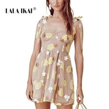 207354664c LALA IKAI Lace Summer Women Mini Cute Fruit Appliques Bandage Vestido Beach  Dress