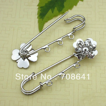 18mm Metal Kilt Pins Blank Bases Filigree Flower Clips Brooches base Pins with 3 Loops DIY Jewelry Settings Multi-color Plated