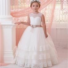 새로운 여자 최초의 친교 드레스 민소매 볼 가운 레이스 appliques 얇은 명주 그물 소녀 드레스 새시 결혼식을 위해