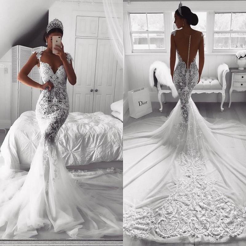Vintage Lace Mermaid Wedding Dresses 2019 robe de mariee Illusion Back Designer Wedding Gowns Western Sweep Train Bride Dress