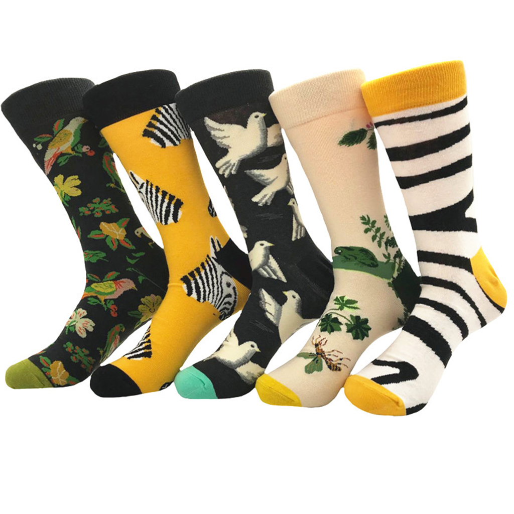 1 Pair Of Men Casual Cotton Crew Socks Animal Fashion Art Patterns For Summer Spring Autumn European Shoes Size 39 To 46