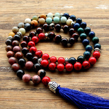 High quality 8mm Natural stone Beads Mala Buddhist Prayer for Meditation Necklace Knotted Bead Yoga Long Necklace Jewelry