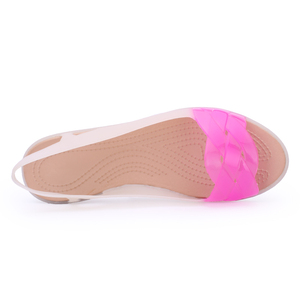 Image 3 - 2019 Rainbow Jelly Shoes Women Wedges Sandalias Woman Sandals Summer Candy Color Peep Toe Bohemia Beach Sweet Slipper Shoes Girl