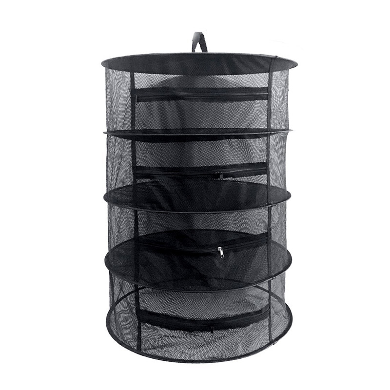 4 Layers Collapsible Wire Mesh Hanging Net Black Drying Rack Clothes Basket Laundry Storage Bag Herb Bud Drying