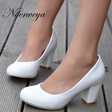 New Spring solid PU leather women's shoes ol work high heels customize small yards 31 32 33 plus size 44 45 46 47 HH-222-1