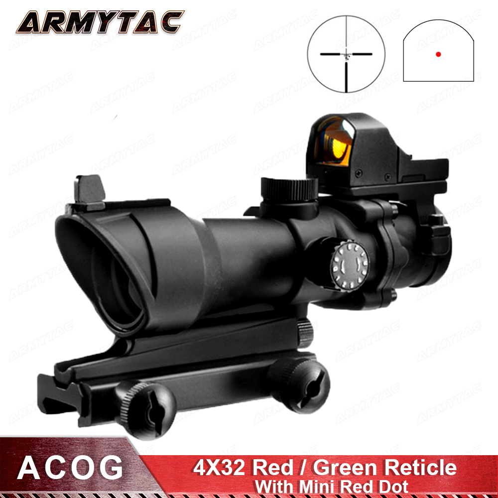ArmyTac ACOG 4X32 Optical Scope Red Green Reticle With Mini Red Dot Sight Sniper Riflescope Hunting Shooting Rifle Scope compact m7 4x30 rifle scope red green mil dot reticle with side attached red laser sight tactical optics scopes riflescope