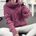 Aelorxin Inverno Mulheres Suéteres e Pulôveres de Gola Alta Mangas Compridas Sólidos Grosso Agasalho quente Mulheres Puxe Hiver Femme 2017