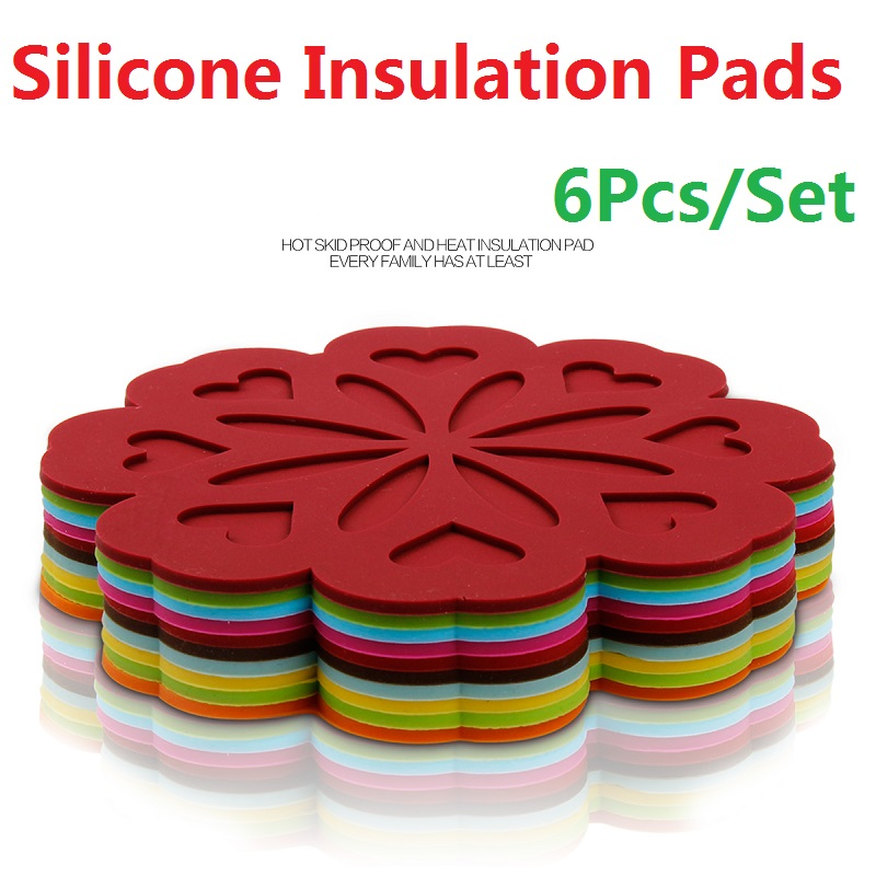 6Pcs/Set Silica Gel Insulation Pads Tableware Mattress Staging Device Eco-Friendly Household Kitchen Utensil Kitchenware Mats