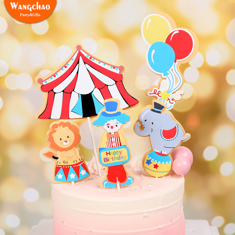 Stupendous 1 Set Circus Party Cake Topper Clown Acrobatics Theme Happy Personalised Birthday Cards Veneteletsinfo