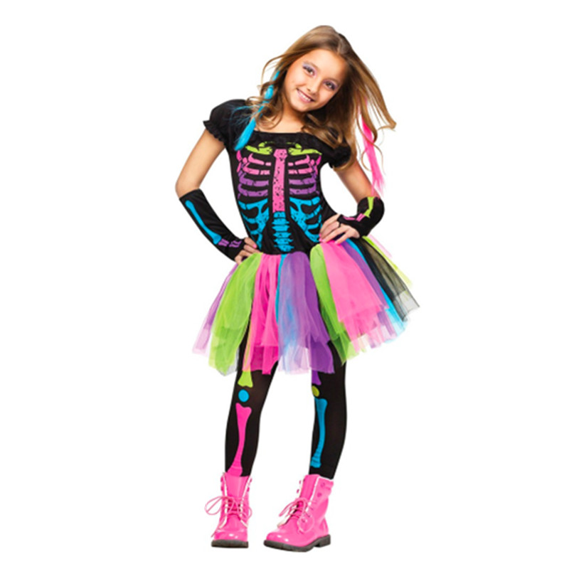 Halloween Costumes For Kids 2019.2019 Girls Princess Dress For Kids Halloween Costume Dress Up Skeleton Rocker Cosplay Fancy Party Carnival Clothes