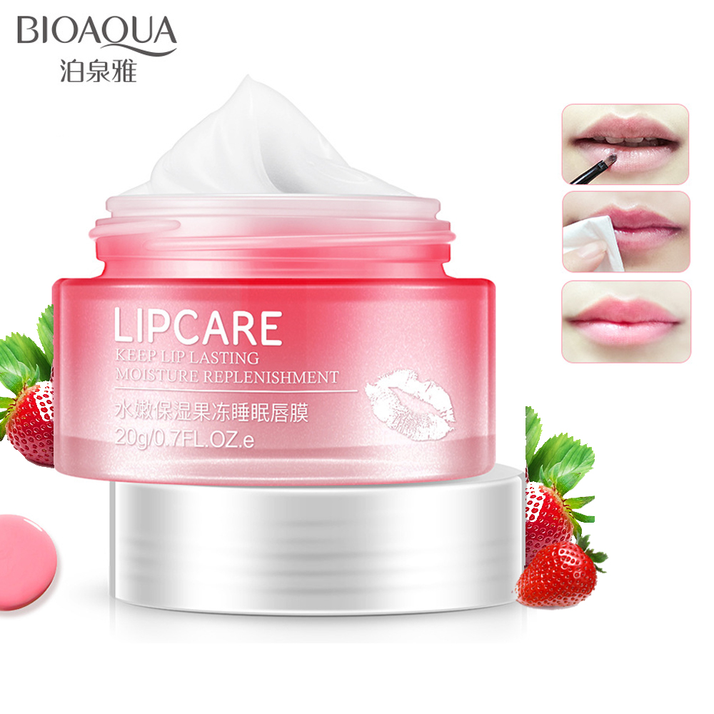 Bioaqua Strawberry Lip Sleeping Mask Exfoliator Balm Moisturizer Nourish Plumper Enhancer Vitamin Repair Skin Care Cream In Lips From Beauty