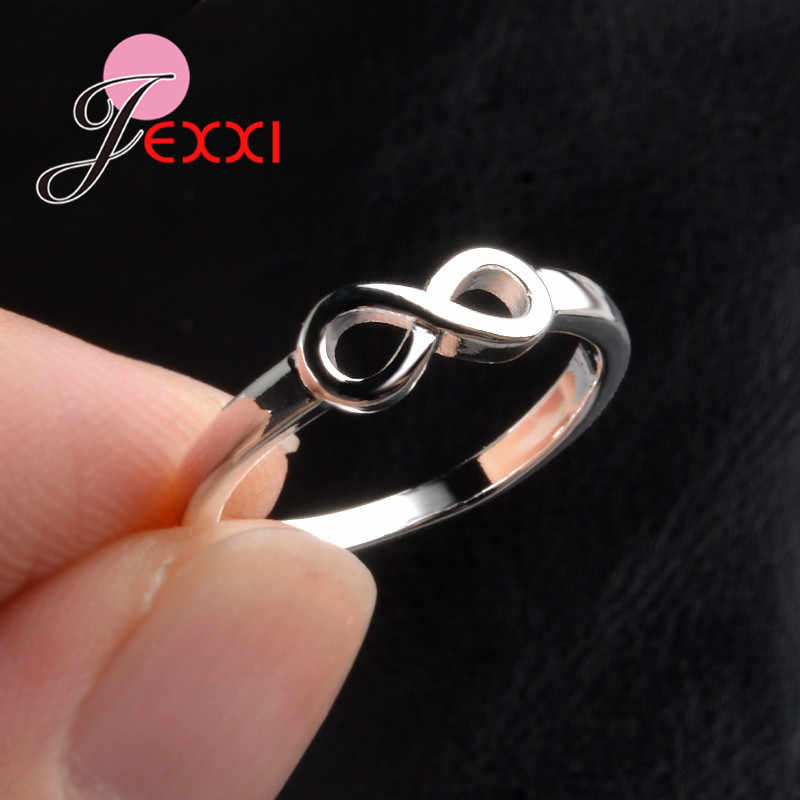 JEEXI โปรโมชั่นใหญ่ 925 Sterling Silver Infinity แหวนเครื่องประดับหมั้นแฟชั่น Anillos เจ้าสาวงานแต่งงานแหวนนิ้วมือสำหรับผู้หญิง