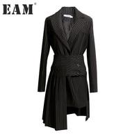 EAM 2017 New Autumn Lapel Long Sleeve Black Striped Loose Half Body Irregular Skirt Two