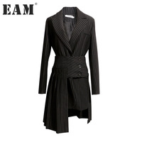 EAM 2018 New Spring Lapel Long Sleeve Black Striped Loose Half Body Irregular Skirt Two