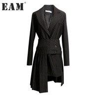 EAM 2018 New Spring Lapel Long Sleeve Black Striped Loose Half Body Irregular Skirt Two