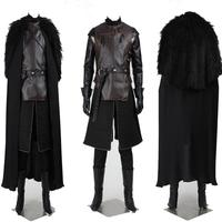 Game of Thrones Jon Snow Cosplay Costume Outfit with Coat Cosplay Knight Role Play Costume Men Adult Fancy Halloween Party Suit