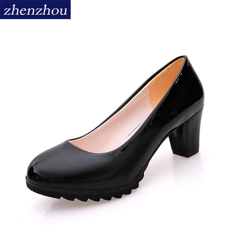Pumps 2019 Lady's Shoes New Autumn Waterproof Platform The Shallow Mouth Round Head High Heels Single Shoes OL Women's Shoes