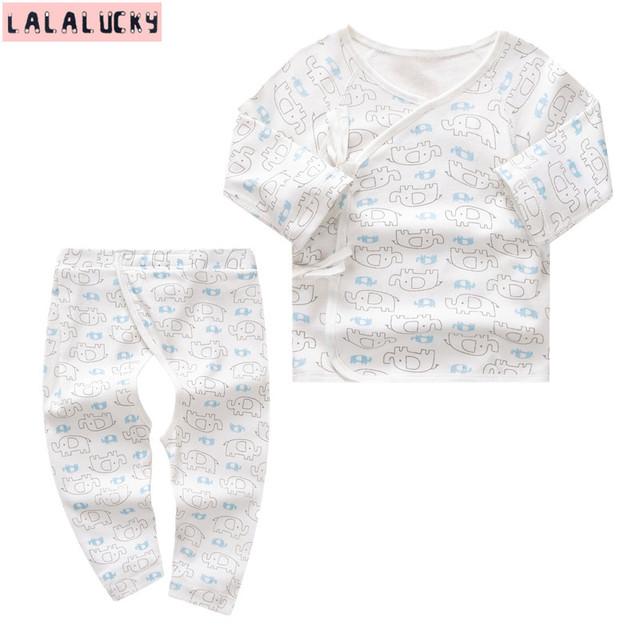 LALALUCKY Bebê Recém-nascido roupas conjunto de roupas de bebê menino e menina conjuntos de roupa interior Longo-sleeved das cuecas 0-6 M desgaste das crianças