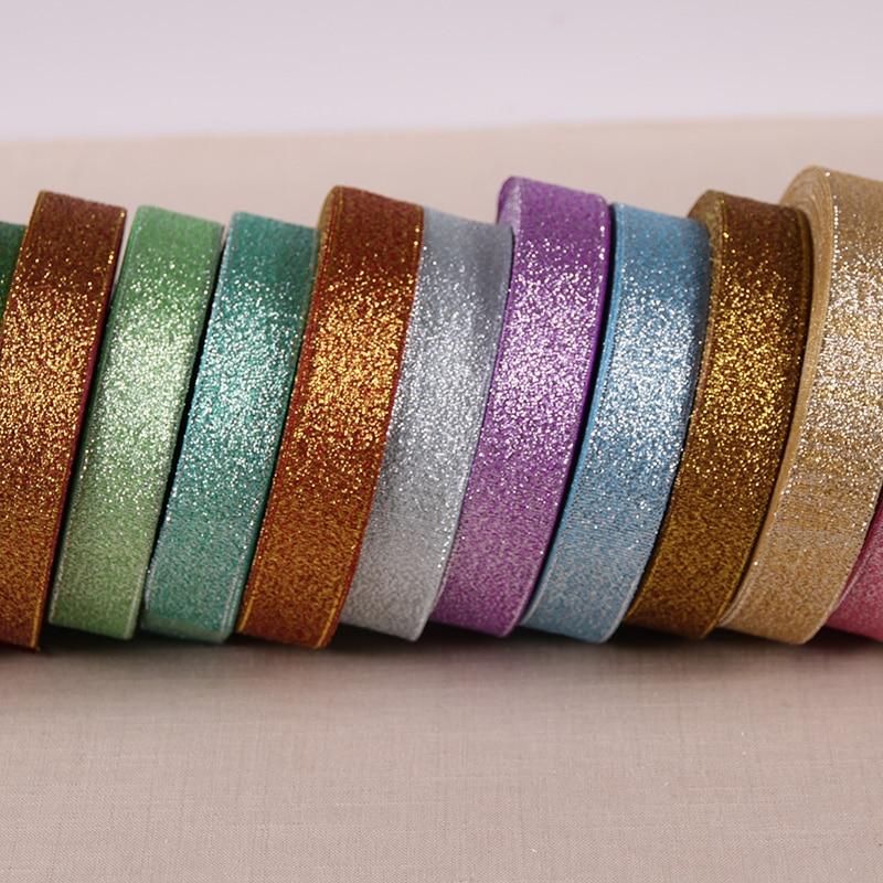 XMAS 20 Yards 1//8/'/' Metallic Glitter ribbons Christmas packaging ribbon 3mm