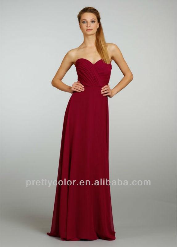 539e66d868 2013 amor caliente vino tinto longitud del piso alto de la cintura plisado  partido vestido de dama de honor junior vestidos de honor en Vestidos de  dama de ...