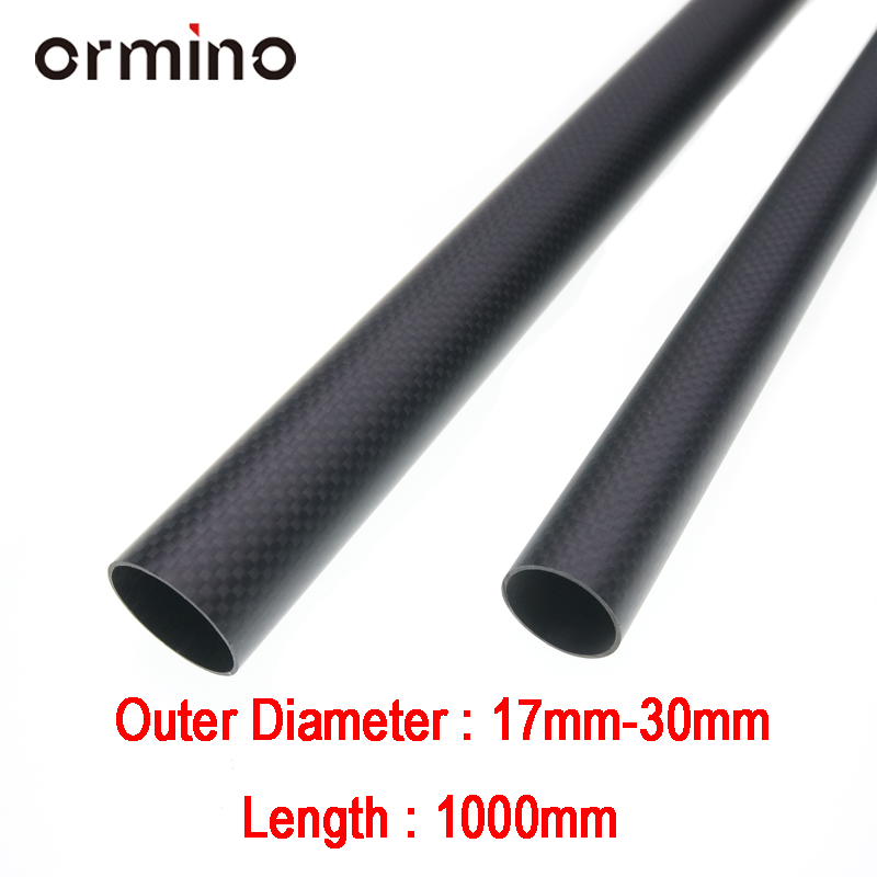 Ormino 3K Carbon Fiber Tube Length 1000mm Quadcopter Frame arm Landing Gear 18mm 19mm 20mm 22mm 24mm 25mm 30mm RC Diy Drone Kit tator rc 3k carbon fiber plate 3 5mm tl2900